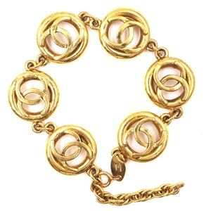 Gold Cc Medallion Charm Links Cuff Bracelet
